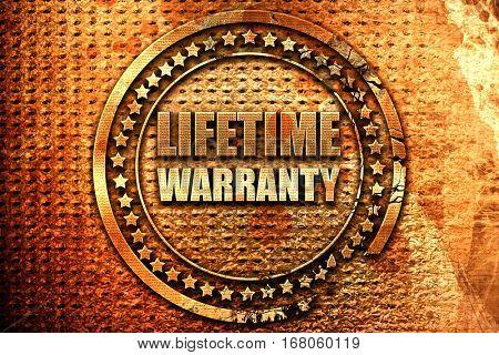 lifetime warranty, 3D rendering, grunge metal stamp
