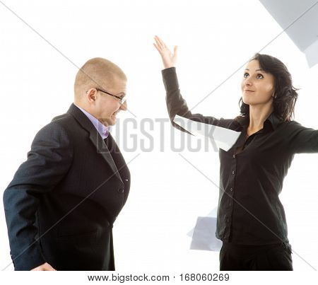 Businessman and businesswoman yelling at eachother on white