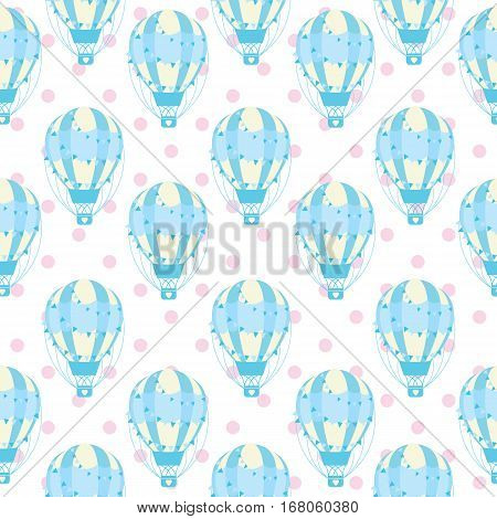 Baby shower seamless pattern with cute blue hot air balloon on polka dot background suitable for baby shower wallpaper, fabric, and scrap paper