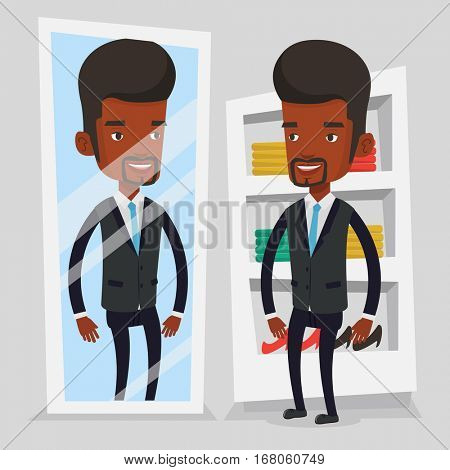 Young african-american man looking at himself in dressing room. Smiling man trying on suit in dressing room. Man choosing clothes in dressing room. Vector flat design illustration. Square layout.