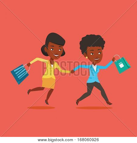 African-american customers rushing to promotion and sale. People rushing on sale to the shop. Two cheerful women running in a hurry to the store on sale. Vector flat design illustration. Square layout