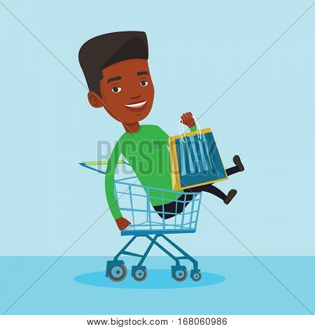 Young carefree customer having fun while riding by shopping cart. Cheerful african-american man with a lot of shopping bags sitting in shopping cart. Vector flat design illustration. Square layout.