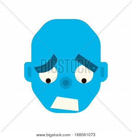 Emotional melancholy robot head in cartoon style. robot sad