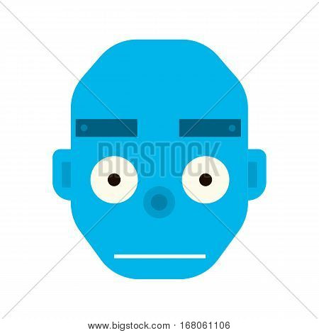 Emotional happy robot head in cartoon style. robot joy