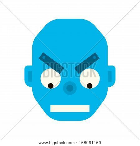 Emotional wicked robot head in cartoon style. robot evil