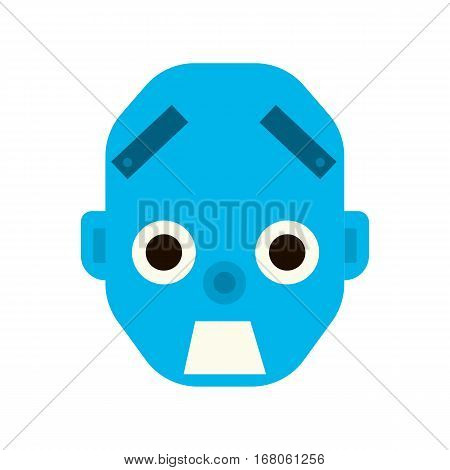Emotional scared robot head in cartoon style. robot awesome