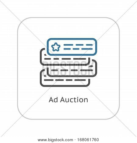 Ad Auction Icon. Flat Design Isolated Illustration. App Symbol or UI element. Couple text ads compete with each other.