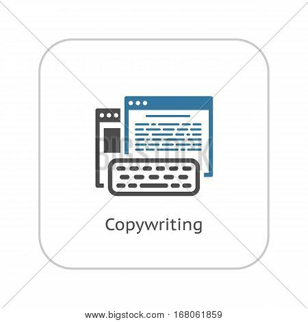 Copywriting Icon. Business and Finance. Isolated Illustration. Web Pages with text and keyboard in front.