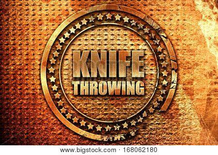 knife throwing, 3D rendering, grunge metal stamp