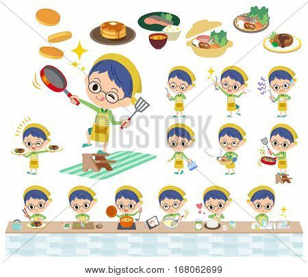 Green Clothing Glasses Boy Cooking