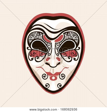 Mask clown, joker, fool. Facial expressions cunning, insidious, crafty. Venice Carnival, Mardi Grass. Vector illustration.