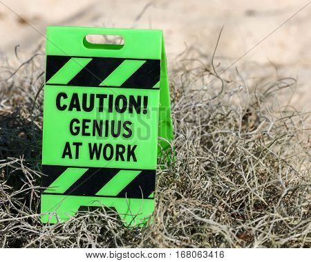 A caution genius at work sign on moss