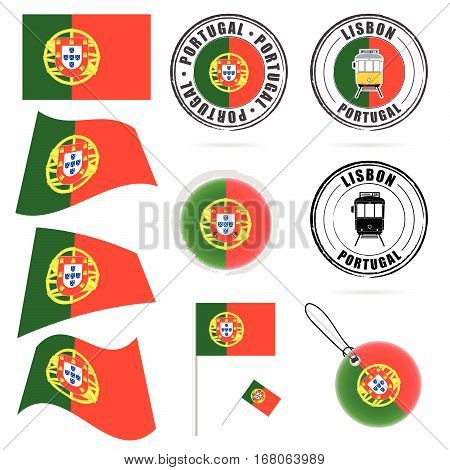 Portugal Flag In Color Design Illustration