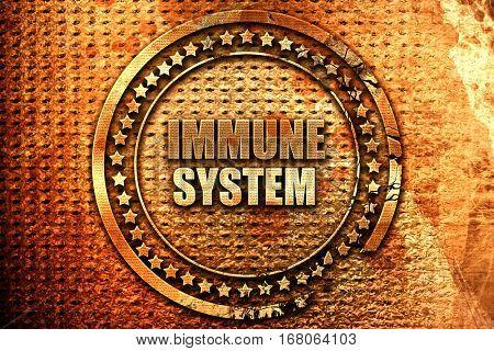 immune sytem, 3D rendering, grunge metal stamp