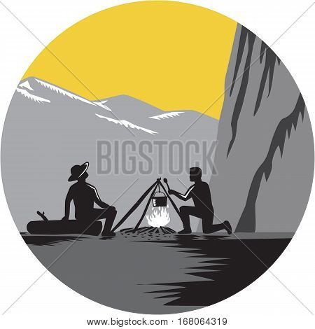 Two people sitting around a campfire. One kneeling and cooking while one sitting on a log and looking up at 1000 foot sheer wall about 50 yards away set inside circle with mountains in the background done in retro woodcut style.