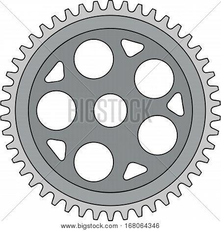 Illustration of a vintage single ring crank set on isolated white background done in retro style.