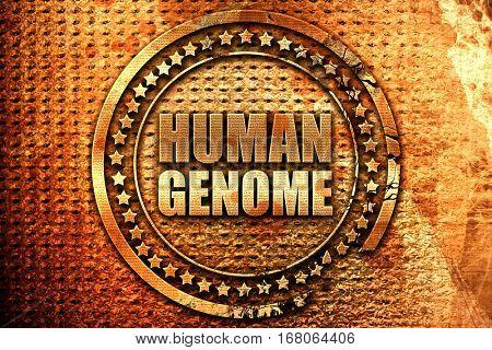 human genome, 3D rendering, grunge metal stamp