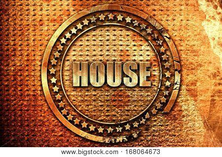 house music, 3D rendering, grunge metal stamp