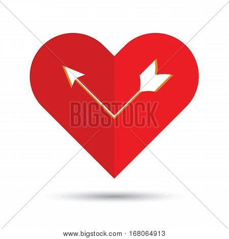 I love you. Abstract holiday background with a arrow in the heart. Valentines day concept