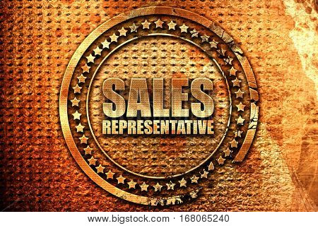 sales representative, 3D rendering, grunge metal stamp