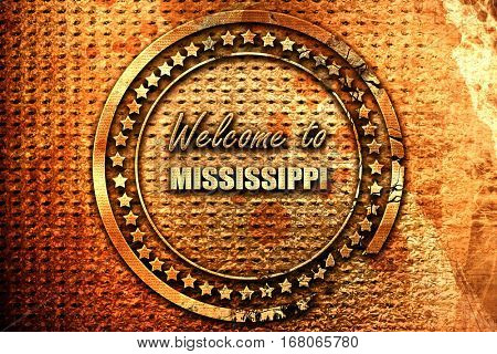 Welcome to mississippi, 3D rendering, grunge metal stamp
