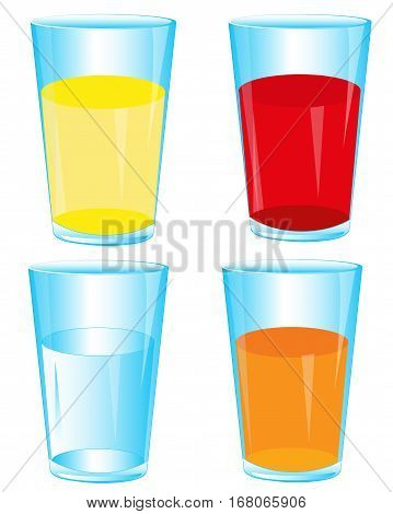 Assortment of juice in glass on white background is insulated