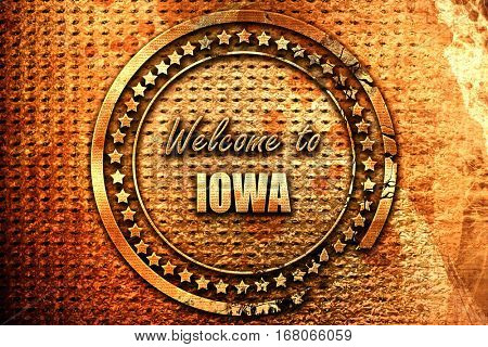Welcome to iowa, 3D rendering, grunge metal stamp