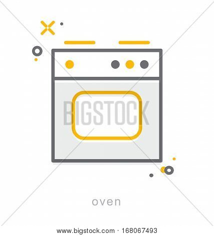 Thin line icons, Linear symbols, Oven icon
