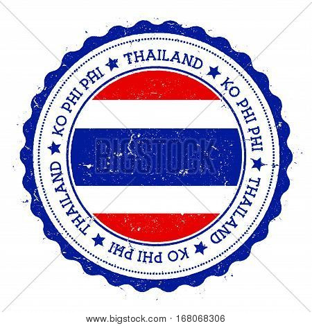 Ko Phi Phi Flag Badge. Vintage Travel Stamp With Circular Text, Stars And Island Flag Inside It. Vec