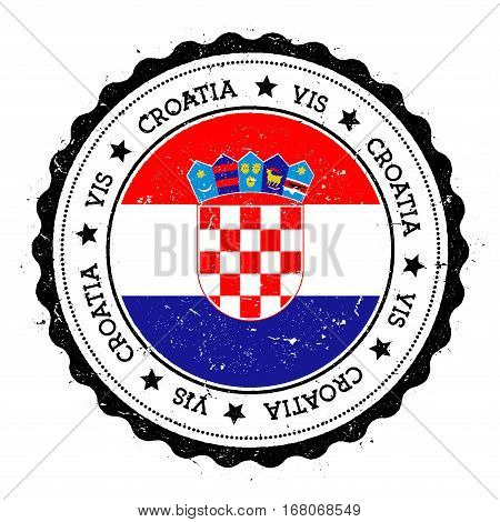 Vis Flag Badge. Vintage Travel Stamp With Circular Text, Stars And Island Flag Inside It. Vector Ill