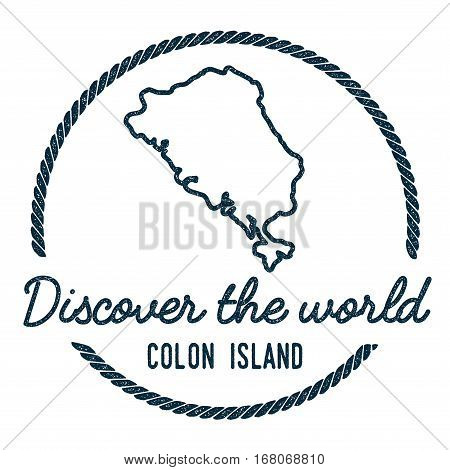 Colon Island Map Outline. Vintage Discover The World Rubber Stamp With Island Map. Hipster Style Nau