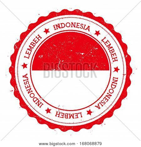 Lembeh Flag Badge. Vintage Travel Stamp With Circular Text, Stars And Island Flag Inside It. Vector