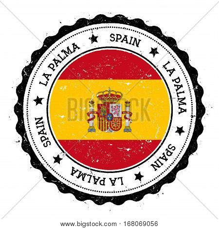 La Palma Flag Badge. Vintage Travel Stamp With Circular Text, Stars And Island Flag Inside It. Vecto
