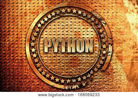 python computer language, 3D rendering, grunge metal stamp