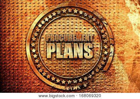 procurement plans, 3D rendering, grunge metal stamp