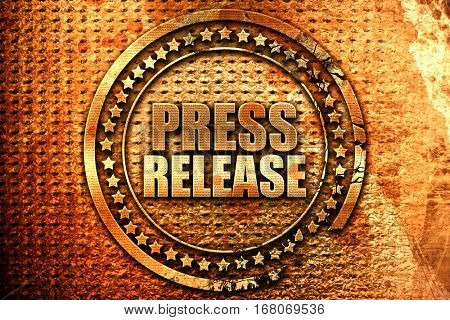 press release, 3D rendering, grunge metal stamp