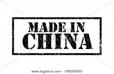 Abstract rubber stamp with the word Made in China written inside the stamp. made in china rubber stamp.