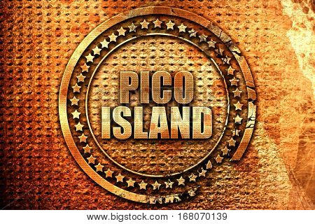 pico island, 3D rendering, grunge metal stamp