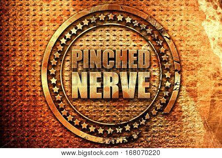 pinched nerve, 3D rendering, grunge metal stamp