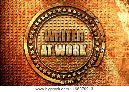 writer at work, 3D rendering, grunge metal stamp