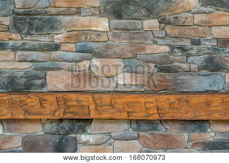 Rocky background with wood mantle at the bottom