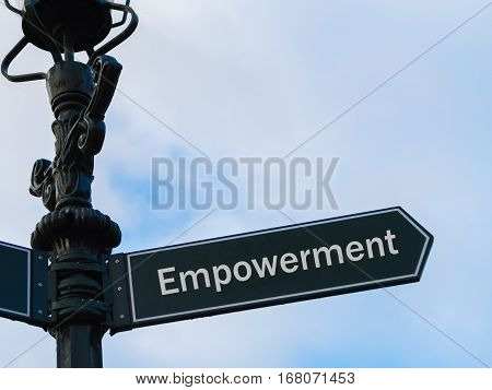 Empowerment Directional Sign On Guidepost