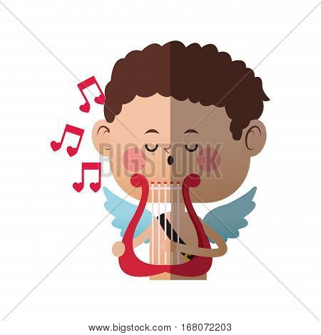 baby cupid playing a lyre over white background. colorful design. vector illustration