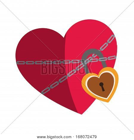 heart with chains and padlock icon over white background. colorful design. vector illustration