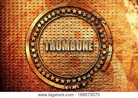 trombone, 3D rendering, grunge metal stamp