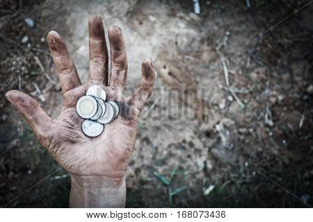 Homeless Begging Hand Of Man With Money