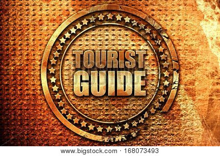 tourist guide, 3D rendering, grunge metal stamp