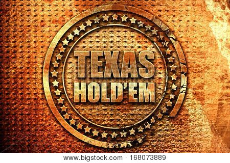 texas hold'em, 3D rendering, grunge metal stamp