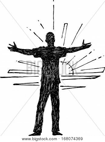 Hand drawn vector illustration or drawing of a man with open arms silhouette