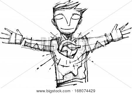 Hand drawn vector illustration or drawing of a happy man with open arms